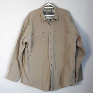 L.L. Bean canvas shirt jacket with flannel lining